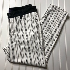 NYDJ ankle white and black stripe pants